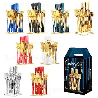 24 Piece/Set Stainless Steel Cutlery Western Food Cutlery Gift Box Household Kitchen Supplies Luxury Golden Cutlery Set