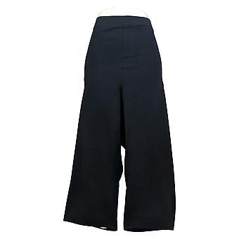 Susan Graver Women's Pants Plus Premium Stretch Pull On Crop Black A394033