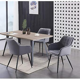 Lusso & Carmello Dining Set | Modern Dining Table | Velvet Dining Chair | Modern Set |  (light Walnut & Dark Grey)