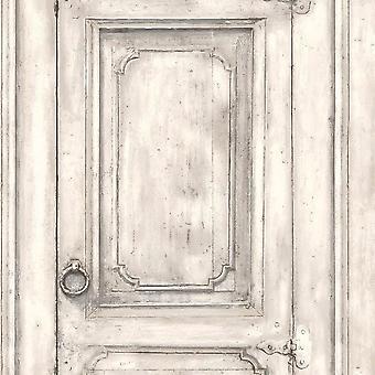 White Wood Effect Door Wallpaper
