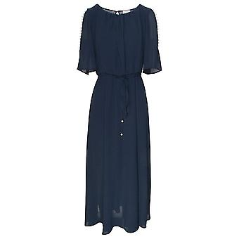 Paola Collection Split Sleeve Pearl Detail Navy Dress