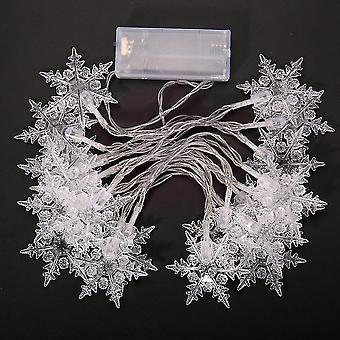 New 20 Led 21m Strings Snowflake Lamp Garland Light Decoration Warm White ES7629