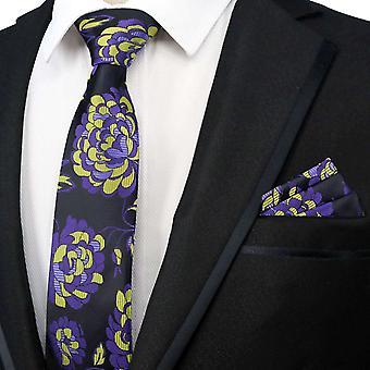 Purple & keltainen kukka kuvio tie & tasku neliön setti