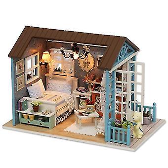 8007# Handcraft wooden diy hut ,led assembled model house toy az3607