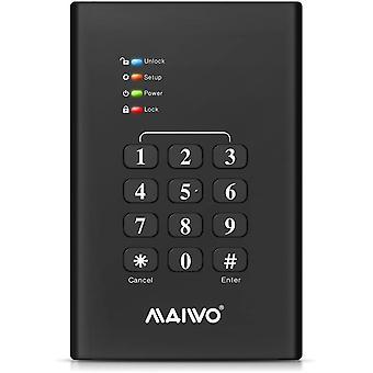 Maiwo USB3.0 2.5inch Keypad Verschlüsseltes Festplattengehäuse - Schwarz