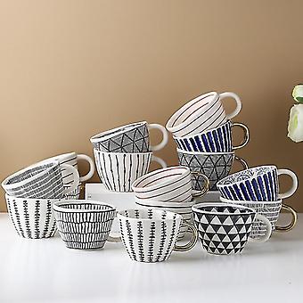 نمط 18 أكواب السيراميك مع الذهب مقبض أكواب القهوة المصنوعة يدويا على شكل فنجان كوب الشاي كوب هدية فريدة من نوعها fa0092