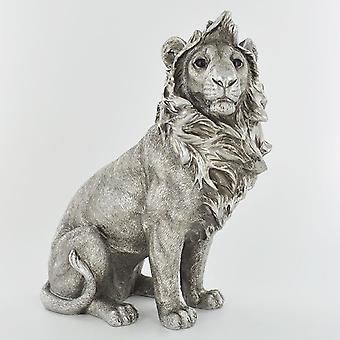 antikk sølv stor løve sitter ornament