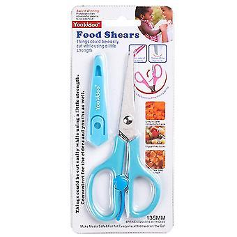 Baby food supplement scissors, stainless steel children's food scissors(Blue)