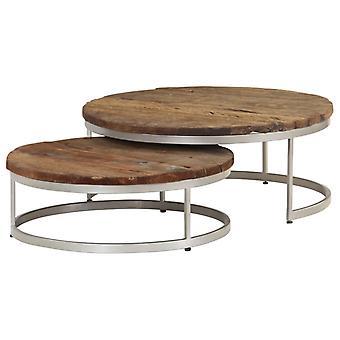 vidaXL طاولة القهوة تعيين 2 أجهزة الكمبيوتر الشخصية. نفايات الخشب والصلب