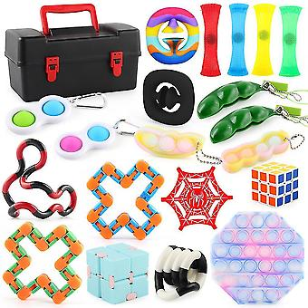 20pcs Magic Cube Anxiety Relief Toys Set Push Pop Bubble Sensory Fidget Toy