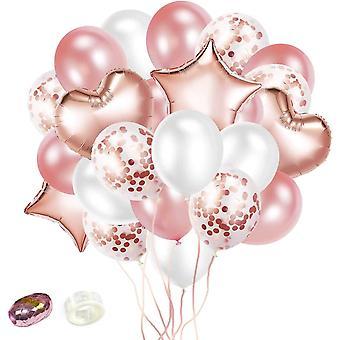 32 Stück Rosa Rosegold Helium Konfetti Luftballons Herzballons mit 20m Band Latex Ballons für