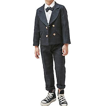 Homemiyn Boy's Double-breasted Checkered Suit Two-piece Suit (tops & Pants) For 2-9 Years Old