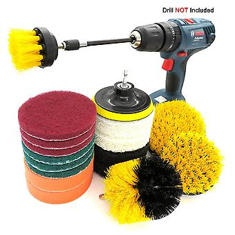18-piece Electric Drill Cleaning Brush, Electric Drill Brush Head, Scouring Pad, Floor Tile Stain Removal, Rust Removal And Scale Removal