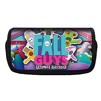Jelly Bean Fall Guys Double Flap Pencil Case Polyester Children's Pencil Case (Color-4)