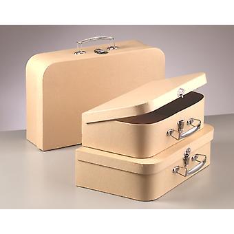 Set of 3 Paper Mache Nesting Suitcases - 30, 32 & 35cm Wide   Papier Mache Shape