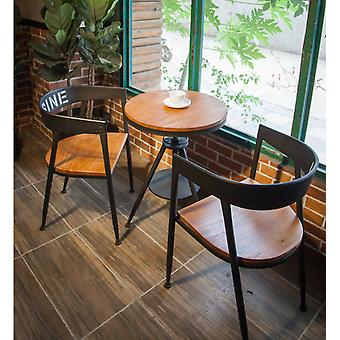 Solid Wood, Iron Round Table And Chair Combination