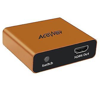 HDMIスプリッタ 1 入力 2 出力 4K 1 to 2 フル HD 1080P用アンプ (オレンジ)