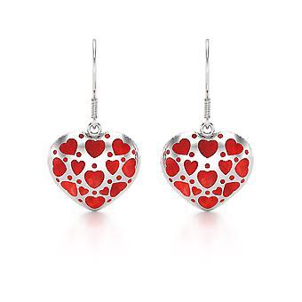 ADEN 925 Sterling Silver Coral Earrings (id 5999)