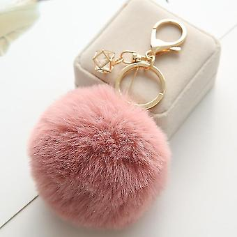 Fluffy and soft nordic style rabbit pompom trinket keychains(Beige)