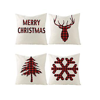 Christmas Throw Pillow Covers Holiday Red Cushion Case Set di 4