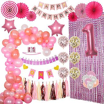 Birthday Scene Decoration Balloon Girl One Year Old Birthday Party Venue Decoration Balloon Set