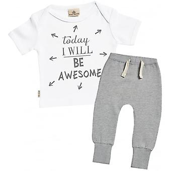 Spoilt Rotten Today I Will Be Awesome Baby T-Shirt & Joggers Outfit Set