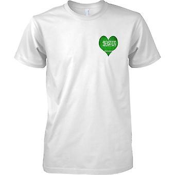 I Love Saudi Arabia Heart Grunge Effect Flag Design - Mens Chest Design T-Shirt
