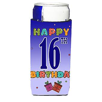 Happy 16th Birthday Ultra Beverage Insulators for slim cans