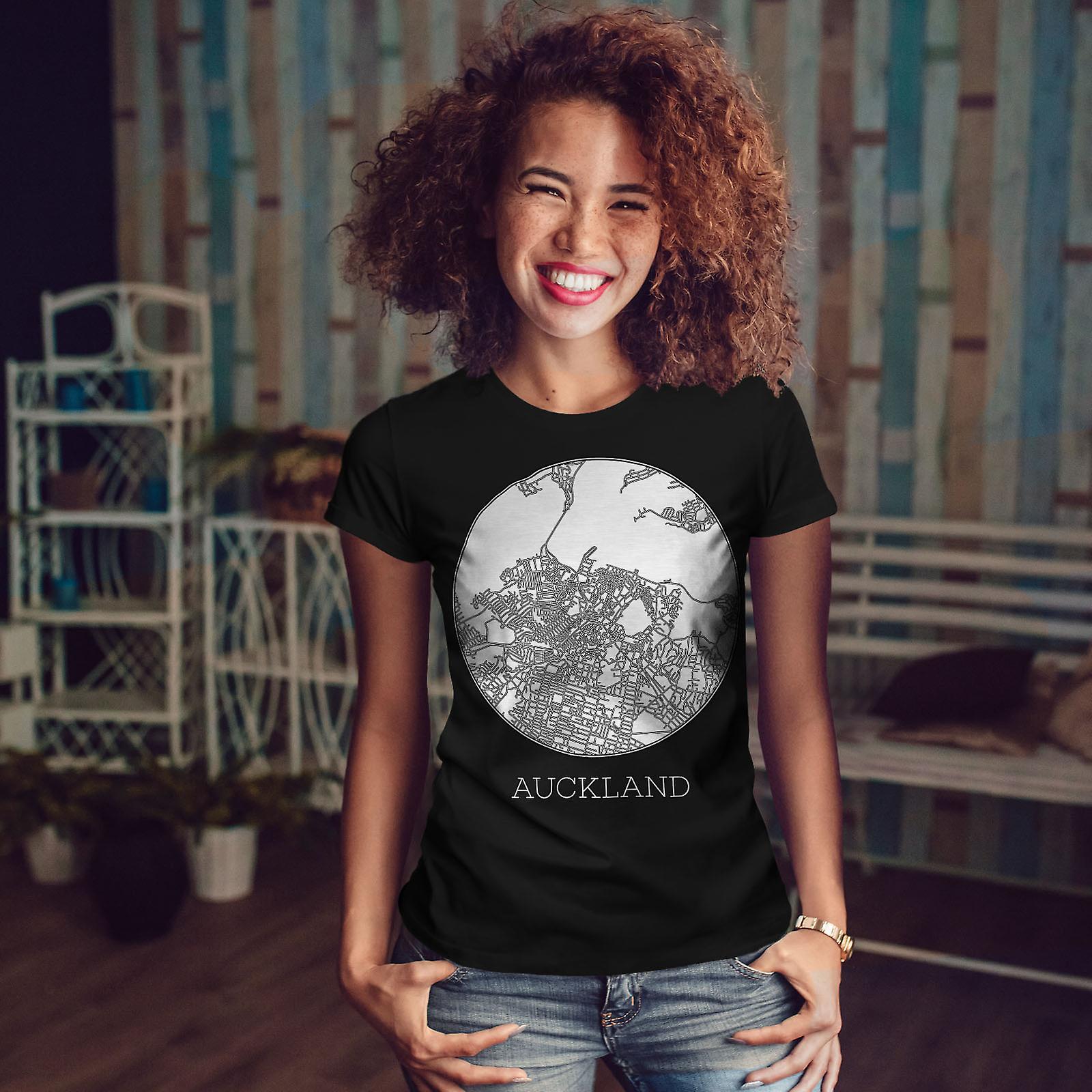 Auckland City carte BlackT-chemise femme | Wellcoda