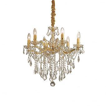 Ideale Lux Florian goud en duidelijke Crystal kroonluchter, 6 bollen