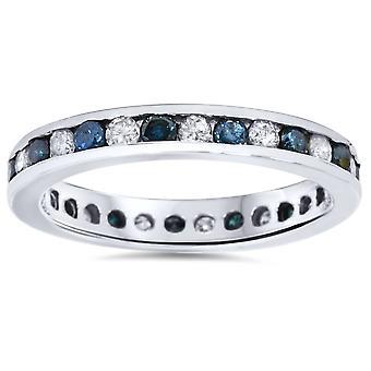 1ct bleu & White diamant Eternity Guard Ring 14K or blanc