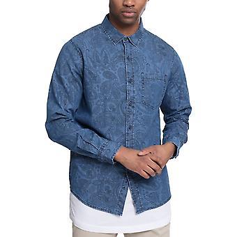 Urban classics - Printed Paisley shirt denim washed shirt
