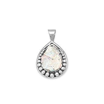925 sterling silver päron form Ancient roman glas hänge med pärla design charm