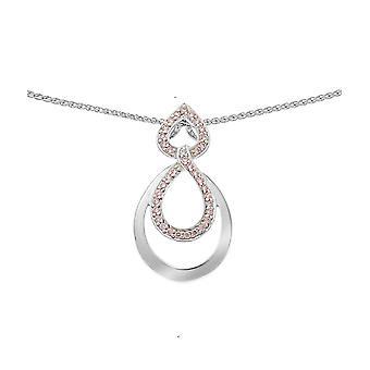 Orphelia Silver 925 kedja med hänge dubbel droppe rosa zirkonium ZH-7092