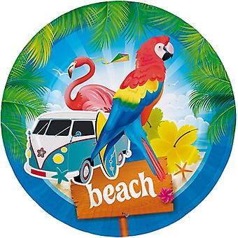 Party tallerken tallerken tallerken Flamingo Beach Party bursdag diameter 23 cm 8pcs