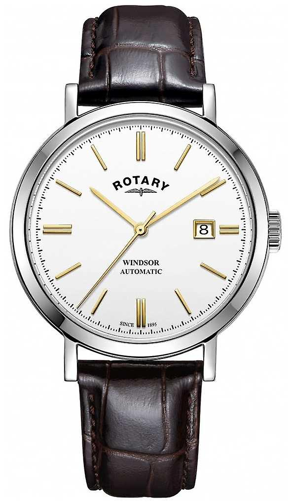 Rotary Mens Windsor Silver Tone Case White Dial Leather Strap GS05315/02 Watch