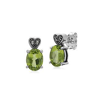 Art Deco Style Oval Peridot & Marcasite Stud Earrings in 925 Sterling Silver 214E870703925