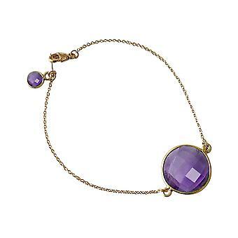 Bracelet Gemshine Women's Bracelet Gold plaqué Amethyst Purple Violet Faceted 19 cm