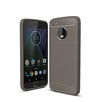 Motorola Moto G5 plus TPU case carbon fiberoptik børstet beskyttelse dække grå
