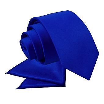 Royal Blue platte satijnen stropdas & zak plein voor jongens instellen