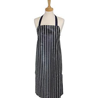 Rushbrookes Classic Butcher's Stripe PVC Coated Cotton Apron, Navy