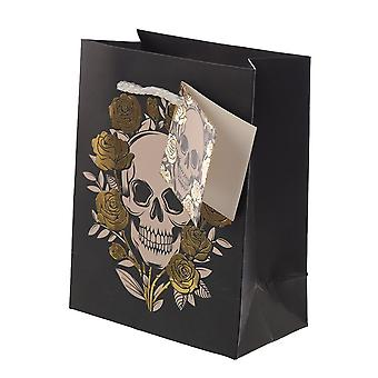 Attitude Clothing Small Metallic Skulls & Roses Gift Bag
