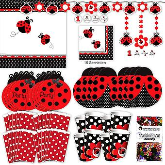 Coccinella festa set pacchetto XL 74-teilig 8 ospiti beetle party lady bug bambini compleanno festa