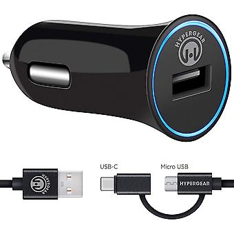 HyperGear Rapid Vehicle Charger w/ 4 ft. Hybrid Charge and Sync Cable - Black