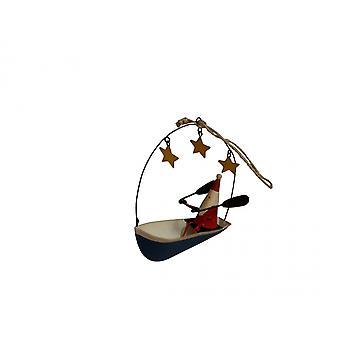 Skolös Joe julgran dekoration Santa i en båt