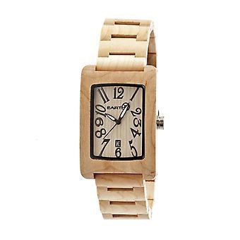Earth Wood Trunk Bracelet Watch w/Date - Khaki/Tan