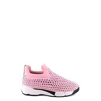 Pinko Ezbc056080 Kvinder's Pink Nylon Slip On Sneakers