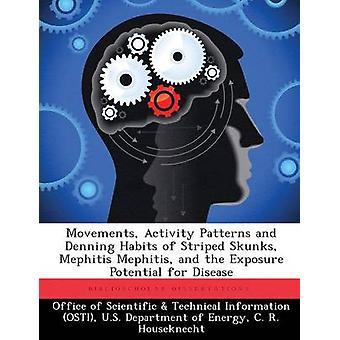 Aktivitätsmuster Bewegungen und Denning Gewohnheiten der gestreiften Stinktiere Mephitis Mephitis und das Gefährdungspotenzial für die Krankheit vom Amt der wissenschaftlichen & technische Informa