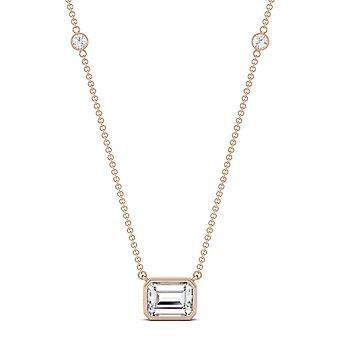 14K Rose Gold Moissanite by Charles & Colvard 8x6mm Emerald Pendant Necklace, 1.87cttw DEW