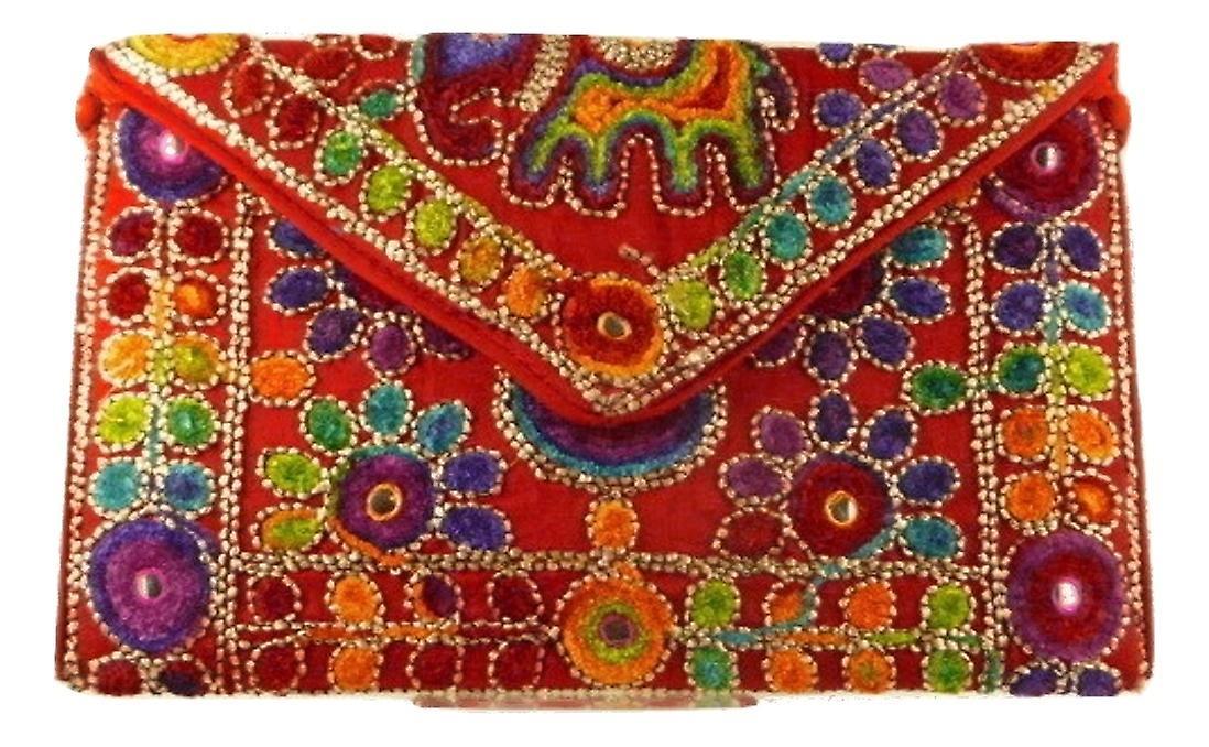 Silk Handbag Peacock Clutch Scarlet by Silk Sauvage at Pashmina & Silk